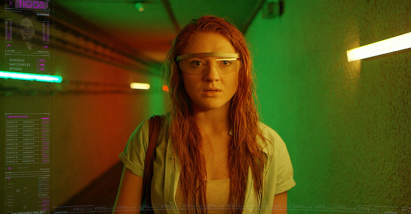 Jenny (Elizabeth Morris) inside the augmented reality simulation in Let's Be Evil (2016)