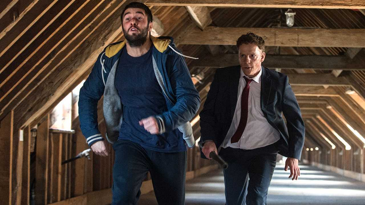 Matt (Josh Bowman) under attack by The Business Man (Will Houston) in Level Up (2016)