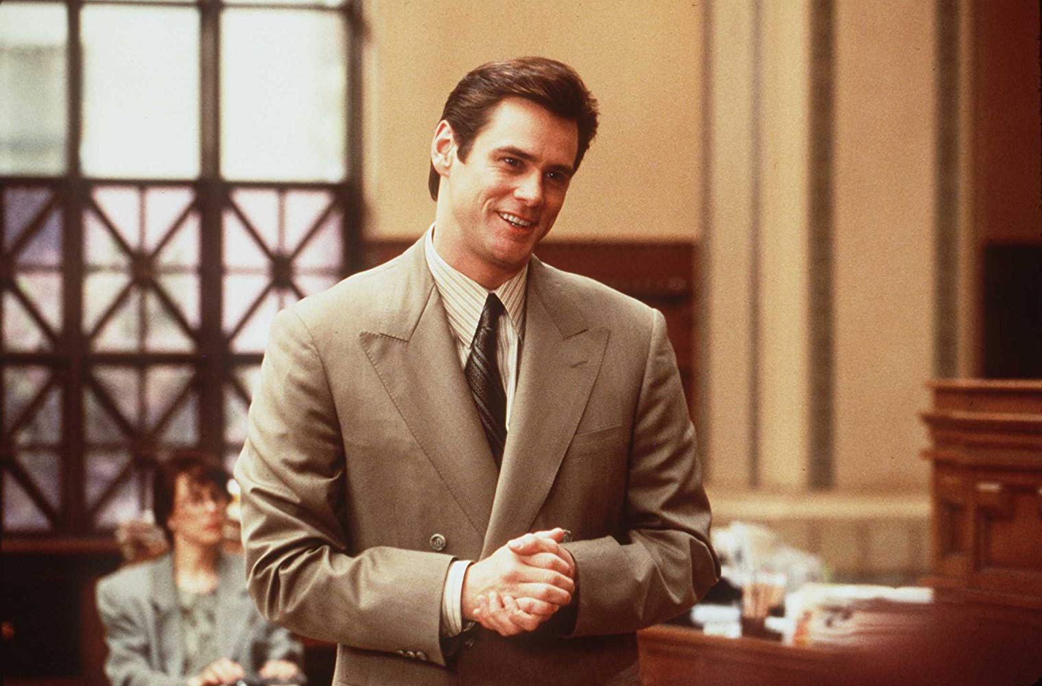 Jim Carrey as lawyer Fletcher Reede, forced to tell he truth for a day in Liar Liar (1997)