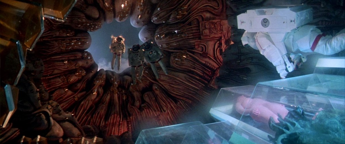 The crew of the space shuttle Churchill investigate the alien ship in Lifeforce (1985)