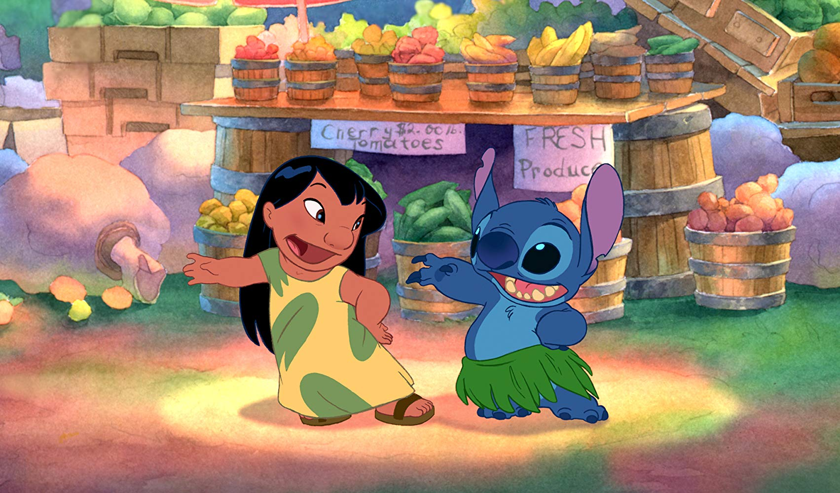 Lilo (voiced by Daveigh Chase) and Stitch aka Experiment 626 (voiced by co-director Chris Sanders) in Lilo & Stitch (2002)