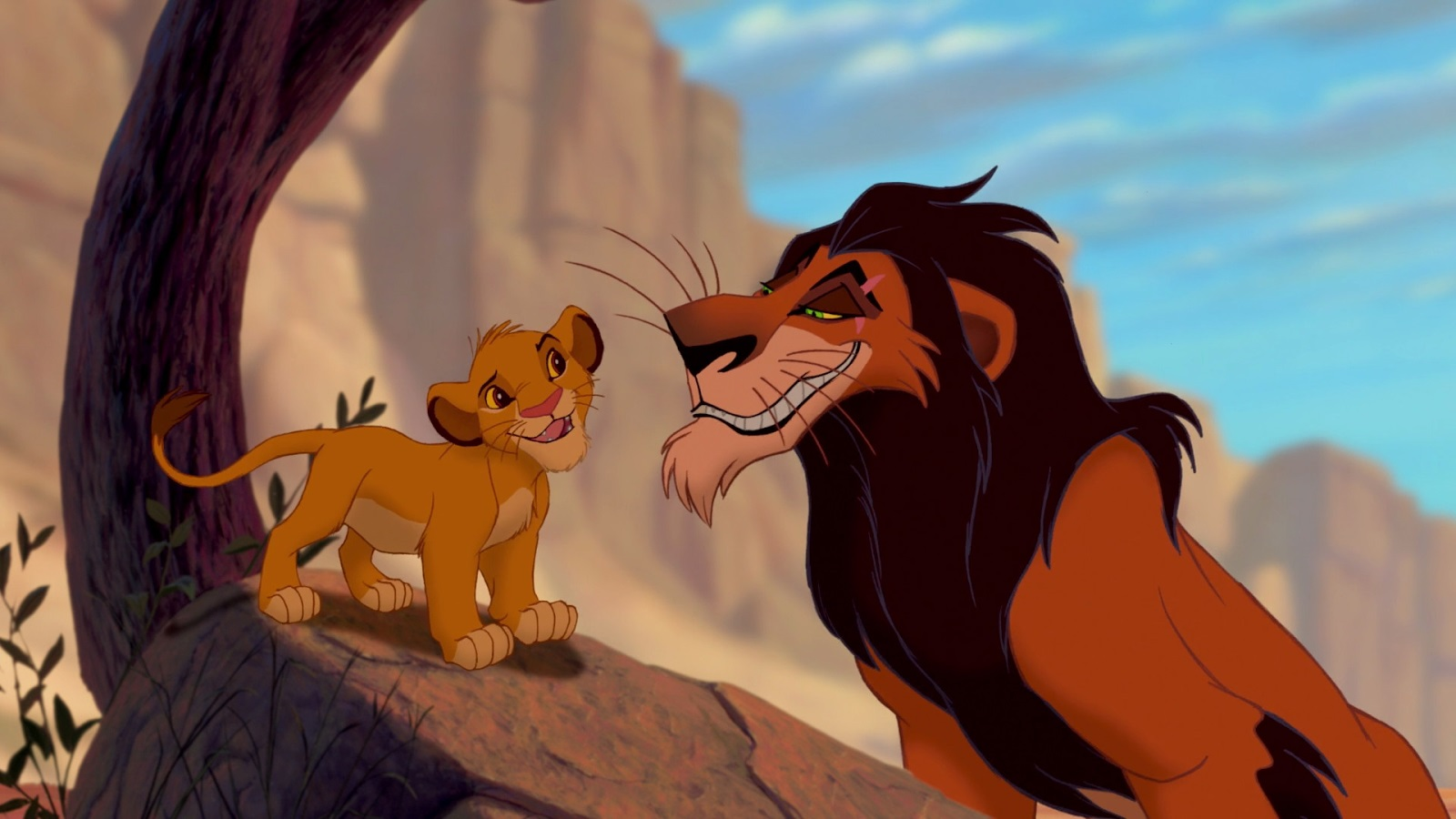The young Simba and his uncle Scar in The Lion King (1994)