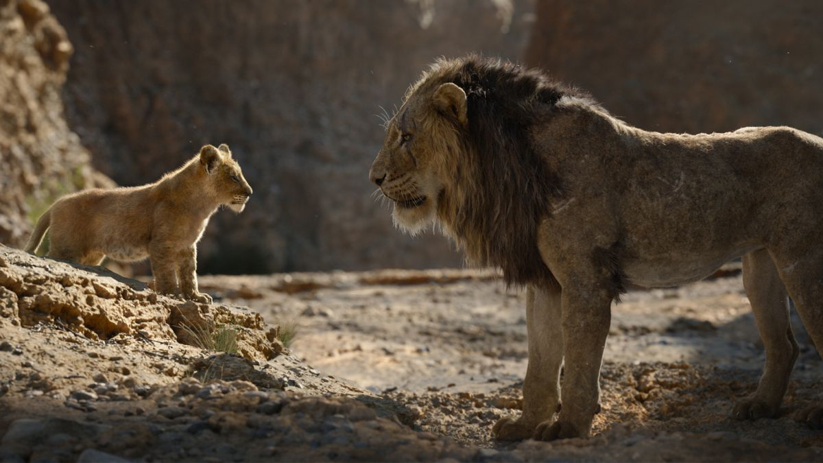 (l to r) Simba (voiced by J.D. McCrary) and Scar (voiced by Chiwetel Ejiofor) in The Lion King (2019)
