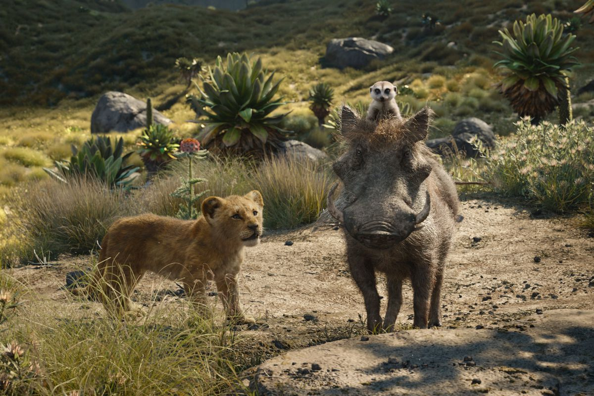Simba (voiced by Donald Glover) with Pumbaa (voiced by Seth Rogen) and (Timon (voiced by Billy Eichner) in The Lion King (2019)