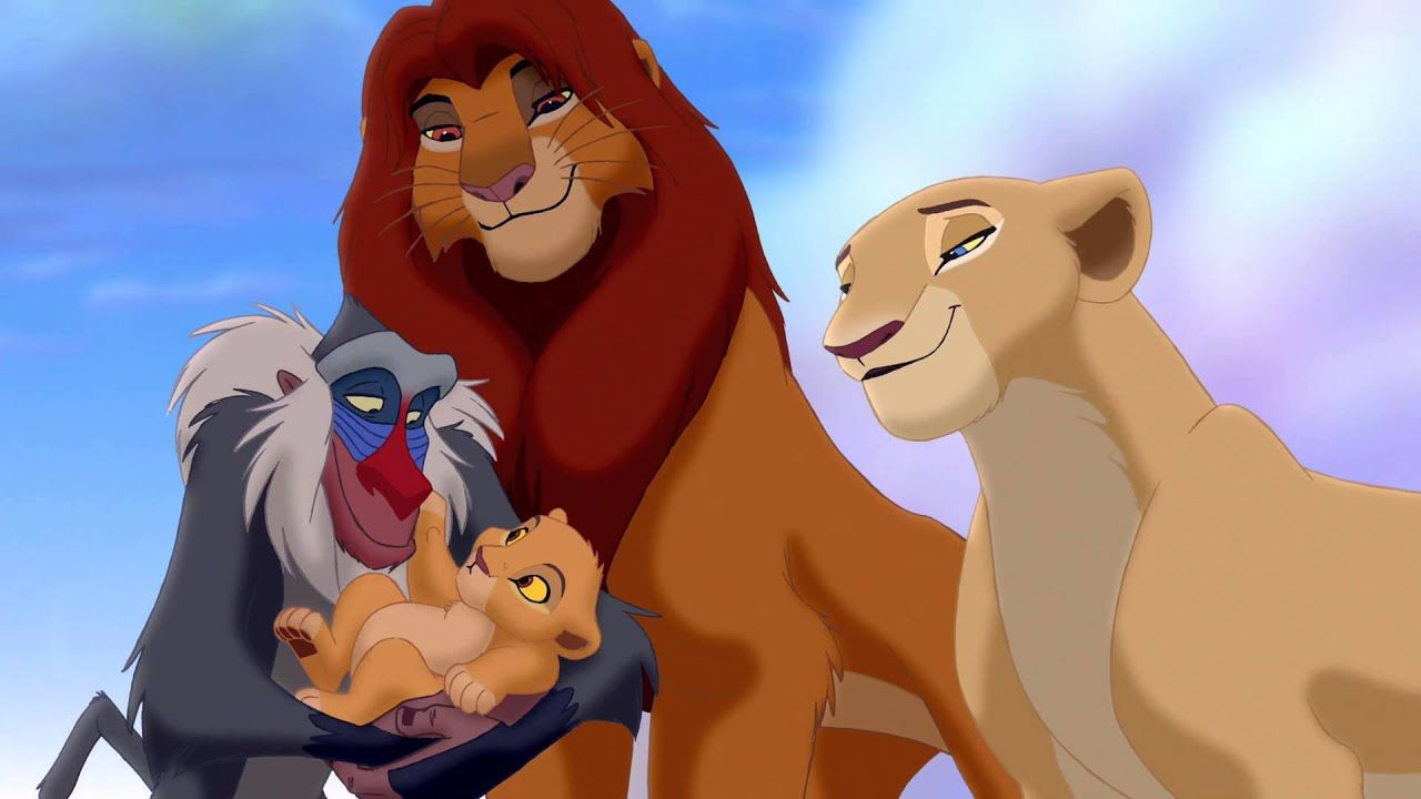 Simba and Nala welcome a daughter Kiara as held by Rafiki in The Lion King II Simba's Pride (1998)