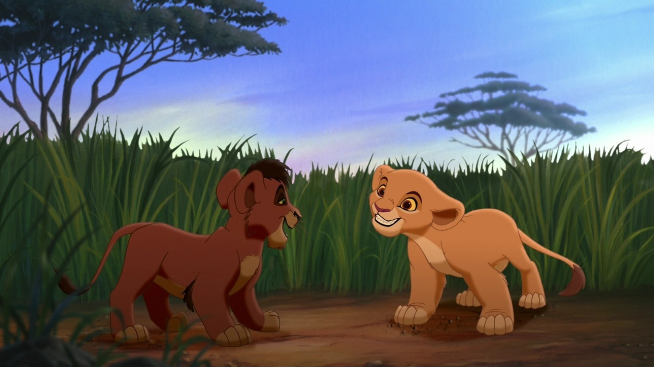 The Lion KiKovu (voiced by Jason Marsden) meets Kiara (voiced by Neve Campbell) in ng II Simba's Pride (1998)