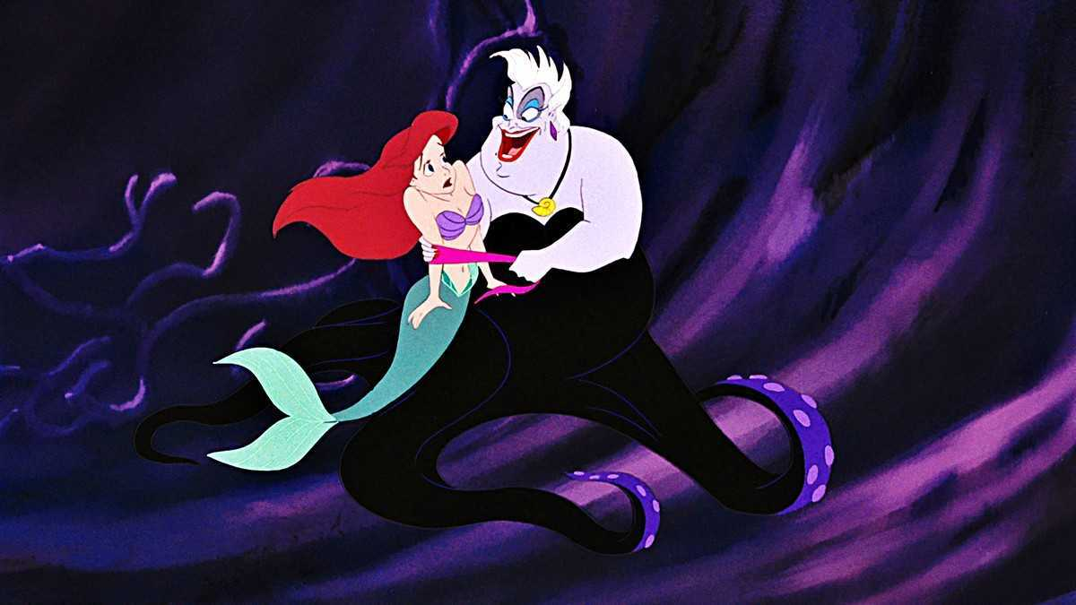 Ariel (voiced by Jodi Benson) is enticed by the witch Ursula (voiced by Pat Carroll) in The Little Mermaid (1989)