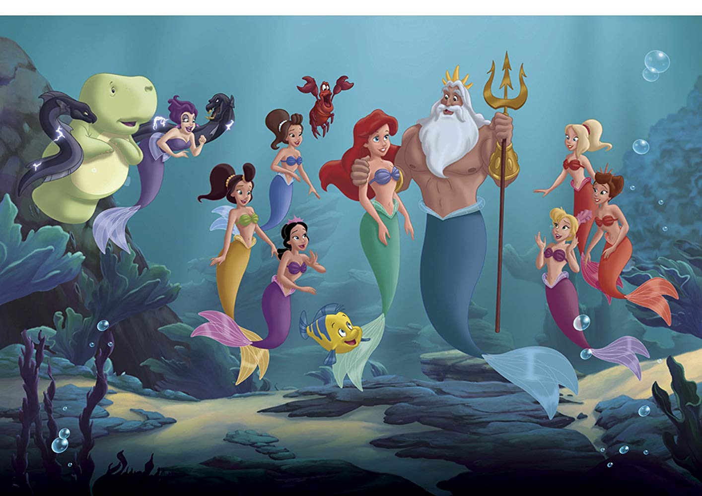 Ariel (c) with King Triton and surrounded by her six sisters, as well as Marina Del Ray (l) and the crab Sebastian and Flounder in The Little Mermaid: Ariel's Beginning (2008)