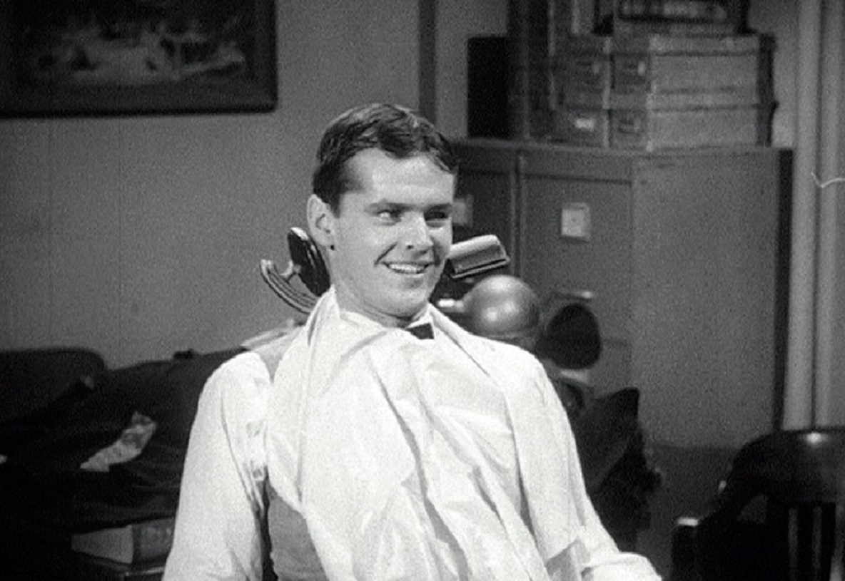 Jack Nicholson as the masochistic Wilbur Force in the dentist's chair in The Little Shop of Horrors (1960)