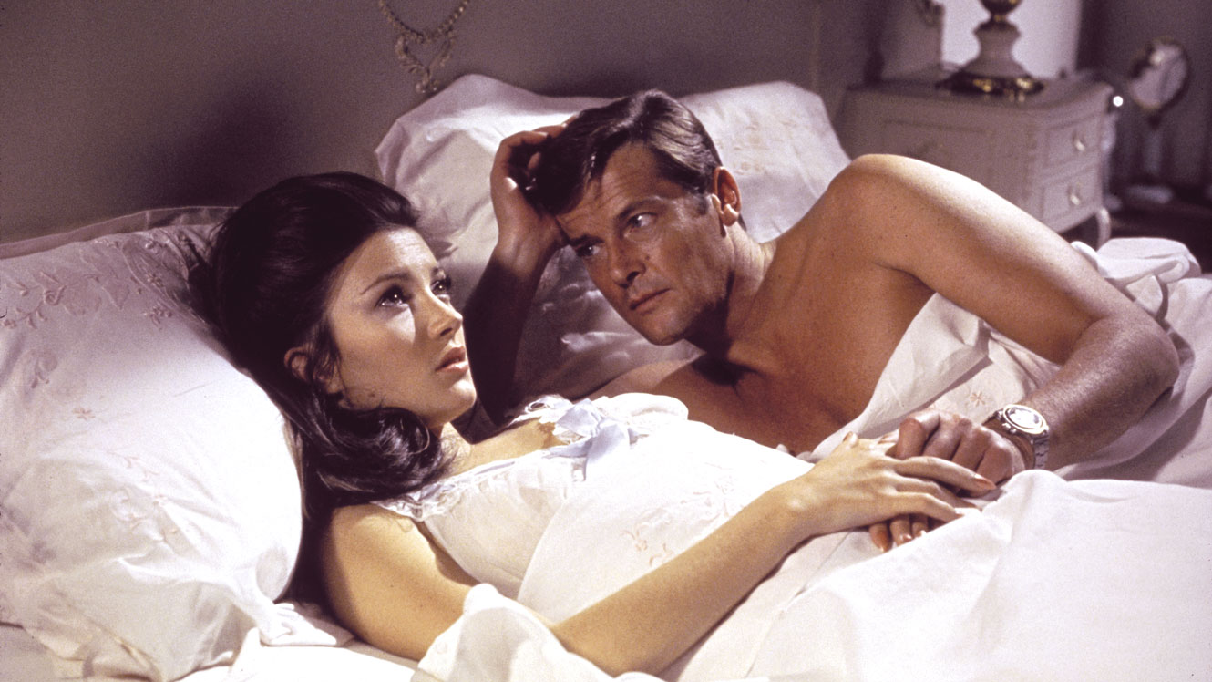 James Bond (Roger Moore) beds Solitaire (Jane Seymour) in Live and Let Die (1973)