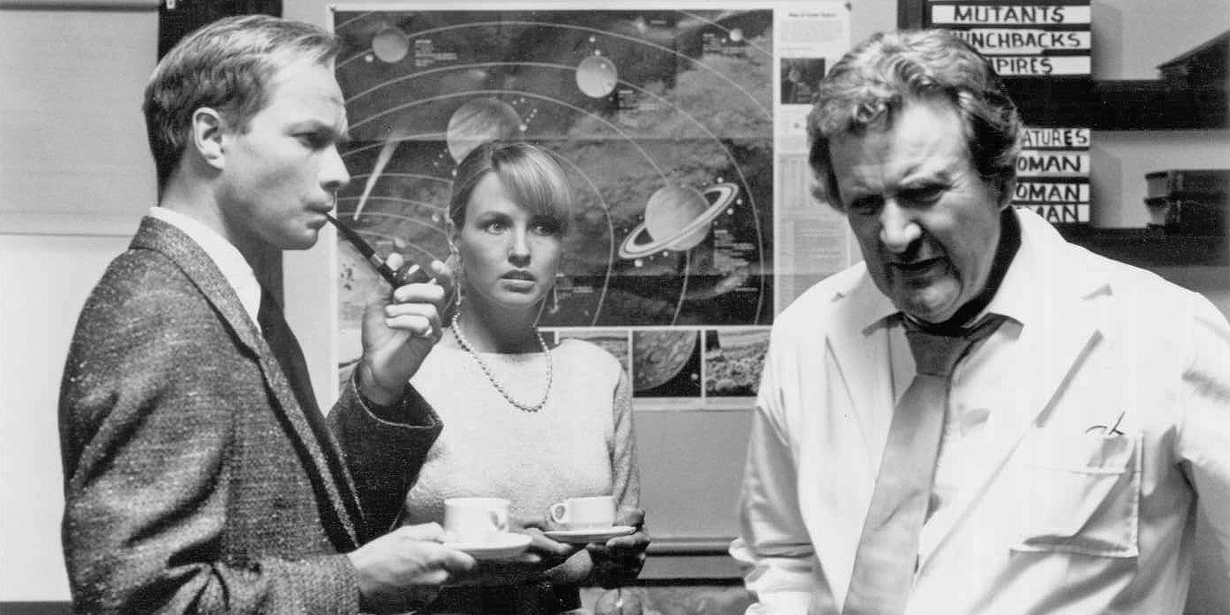 (l to r) Anthony Hickox (later to become a director), Deborah Foreman and scientist Patrick MacNee in Lobster Man from Mars (1989)
