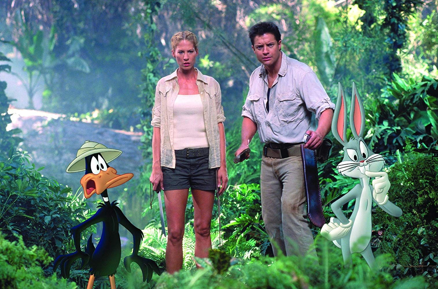 Jenna Elfman and Brendan Fraser, along with Daffy Duck and Bugs Bunny on an adventure in Africa in Looney Tunes: Back in Action (2003)