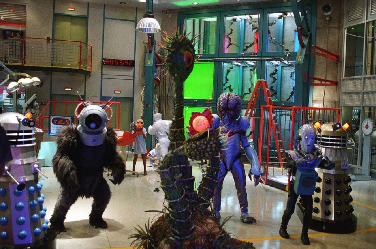 Unleashed from Area 51 - (l to r) A Dalek, the Ro-Man, a Triffid, the Atomic Submarine eye alien, the Metalunan Mutant and The Man from Planet X in Looney Tunes: Back in Action (2003)
