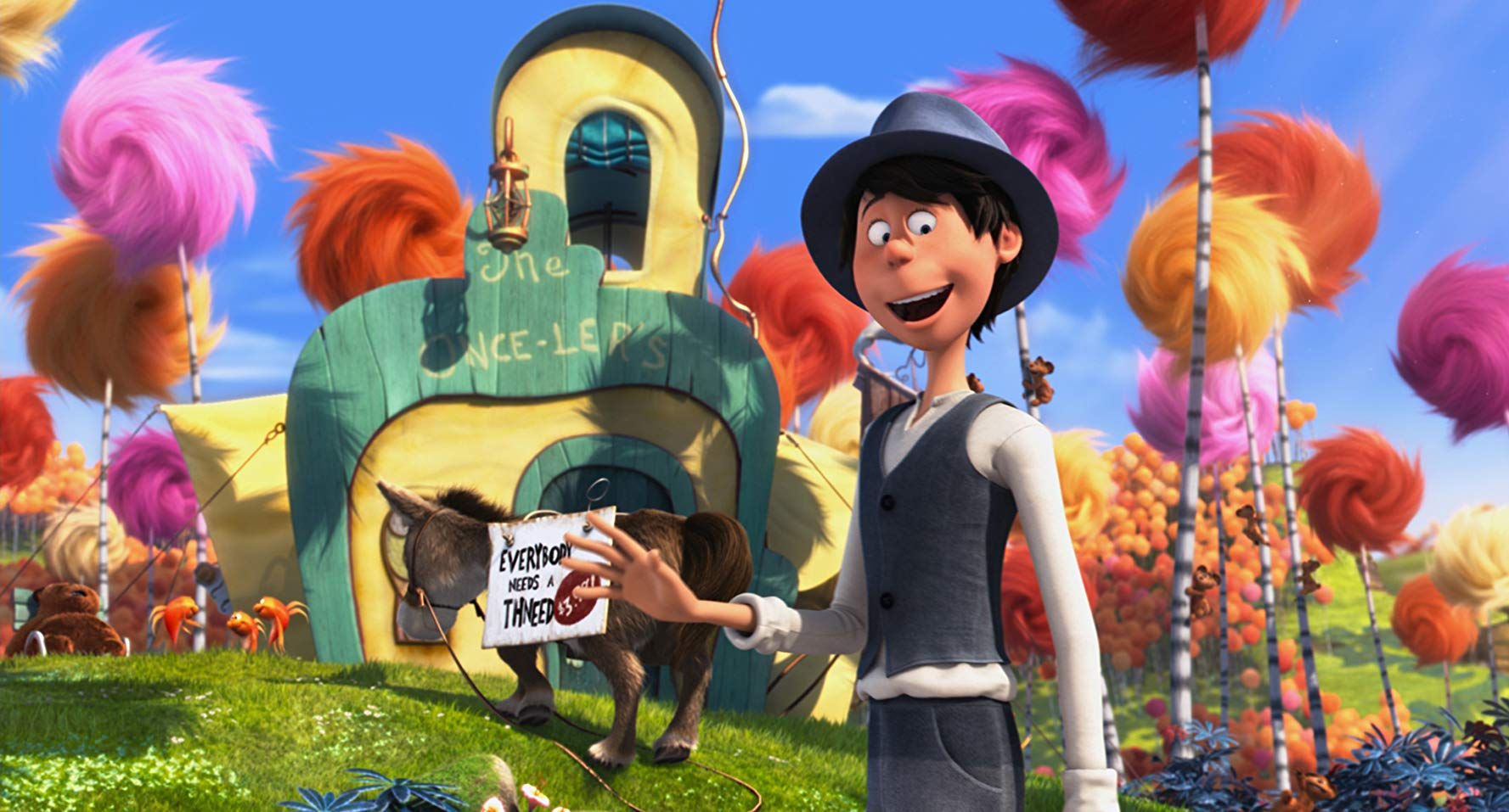 Ted Wiggins (voiced by Zac Efron) heads off to find the Once-ler in The Lorax (2012)