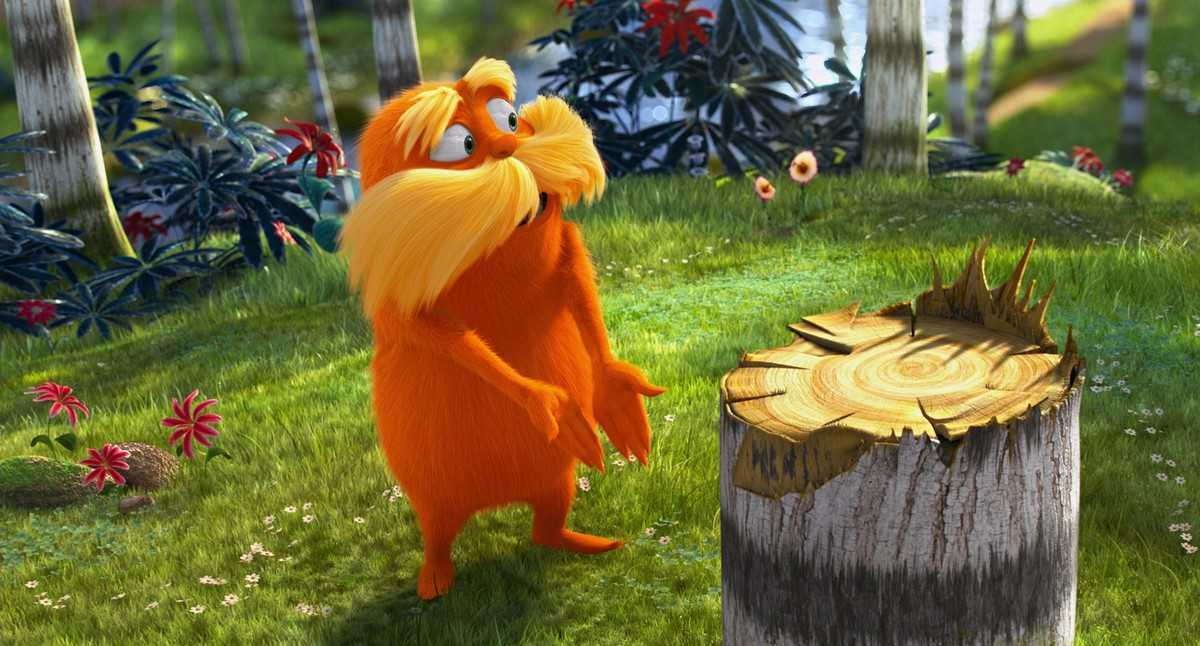 The Lorax (voiced by Danny DeVito) finds one of his trees has been chopped down in The Lorax (2012)