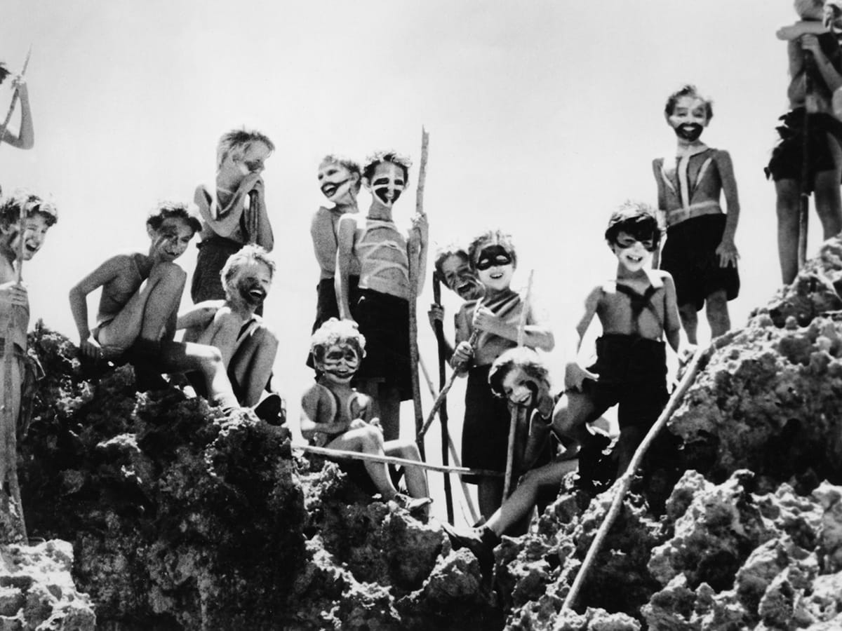 Descent into barbarism among a group of boys stranded on an island in Lord of the Flies (1963)