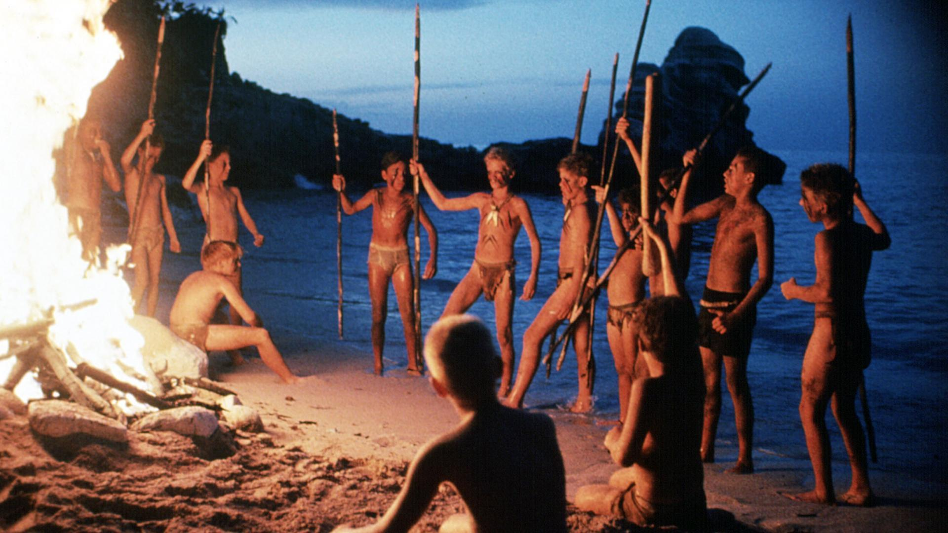 William Golding gratingly updated - boys from an American military academy stranded on a desert island in Lord of the Flies (1990)