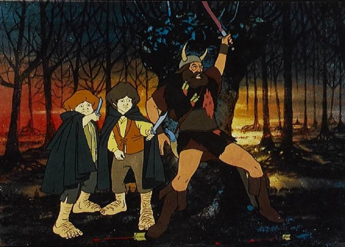 The hobbits Merry and Pippin (voiced by Simon Chandler and Dominic Guard), along with Boromir (voiced by Michael Graham-Cox) in The Lord of the Rings (1978)