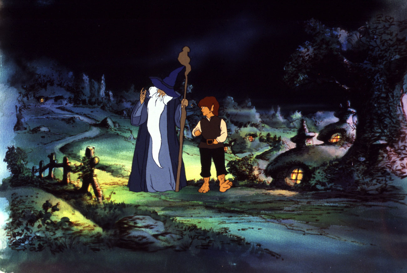 (l to r) Gandalf (voiced by William Squire) and Frodo Baggins (voiced by Christopher Guard) in The Shire in The Lord of the Rings (1978)