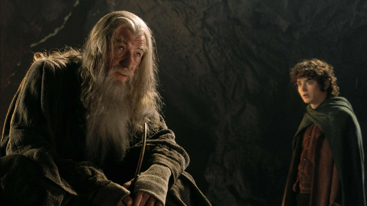 Gandalf (Ian McKellen) and Frodo Baggins (Elijah Wood) in The Lord of the Rings: The Fellowship of the Ring (2001)