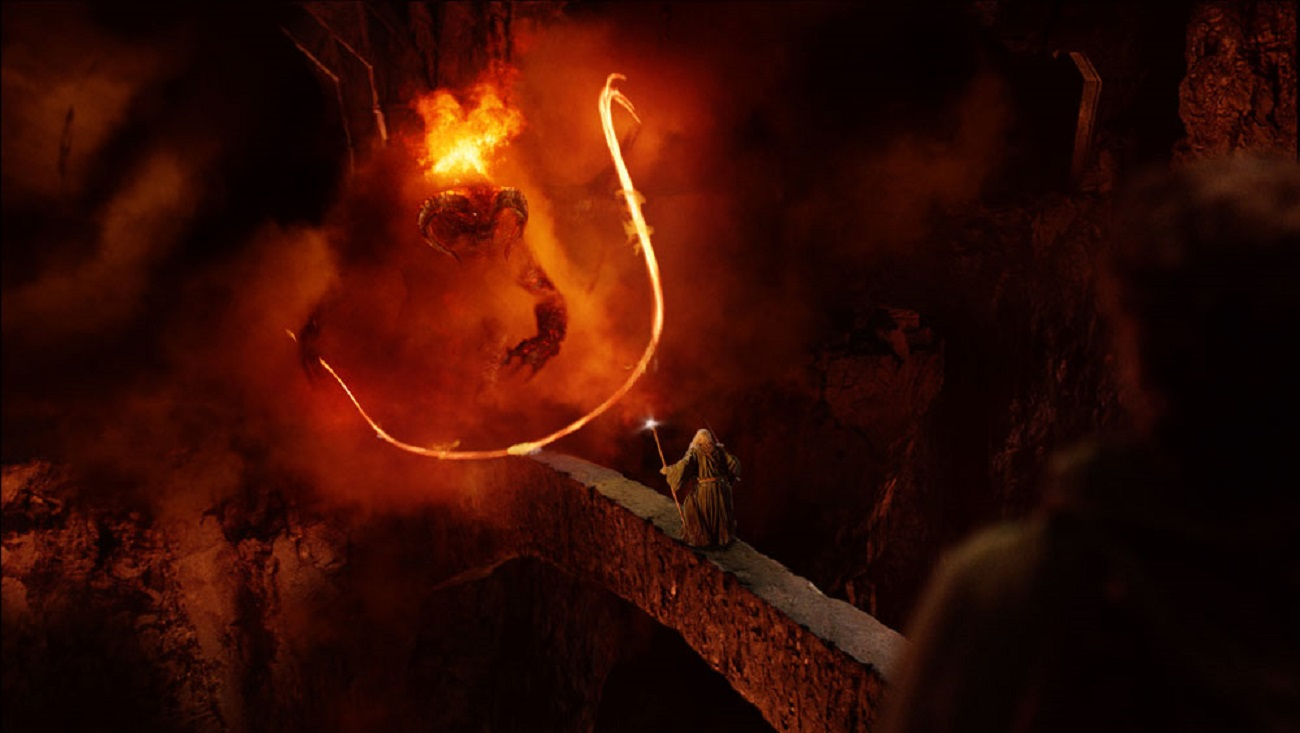 Gandalf (Ian McKellen) confronts the Balrog at the Bridge of Khazad-Dum in The Lord of the Rings: The Fellowship of the Ring (2001)