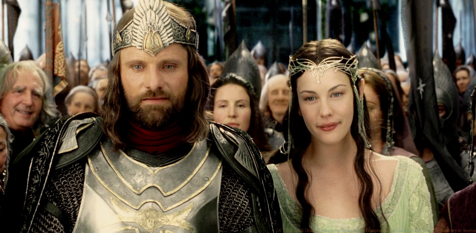 Aragorn (Viggo Mortensen) returns to be the king to marry Arwen (Liv Tyler) in The Lord of the Rings The Return of the King (2003)