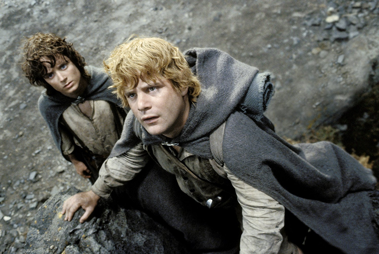 Frodo Baggins (Elijah Wood) and Samwise Gamgee (Sean Astin) travel on to Mordor in The Lord of the Rings The Return of the King (2003)