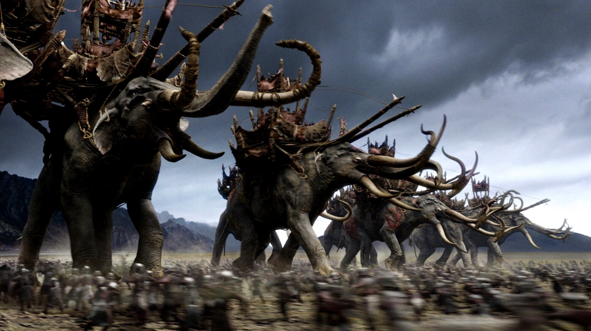 The oliphants ride into combat at the Battle of Pelennor Fields in The Lord of the Rings: The Return of the King (2003)