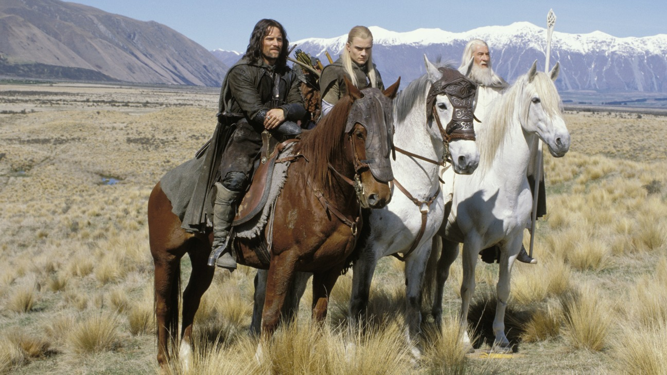 Aragorn (Viggo Mortensen), Legolas (Orlando Bloom) and Gandalf (Ian McKellen) in The Lord of the Rings: The Two Towers (2002)