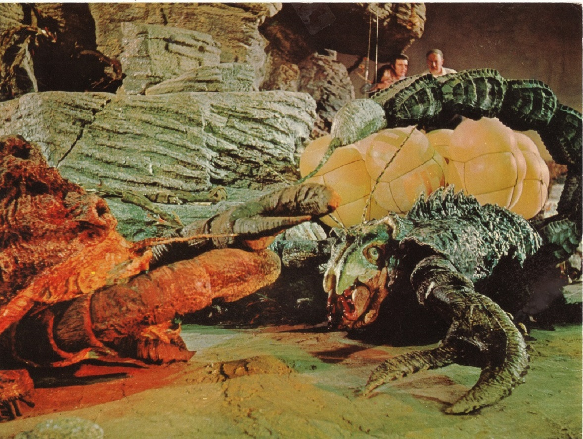 The shipwrecked crew encounter prehistoric monsters in The Lost Continent (1968)