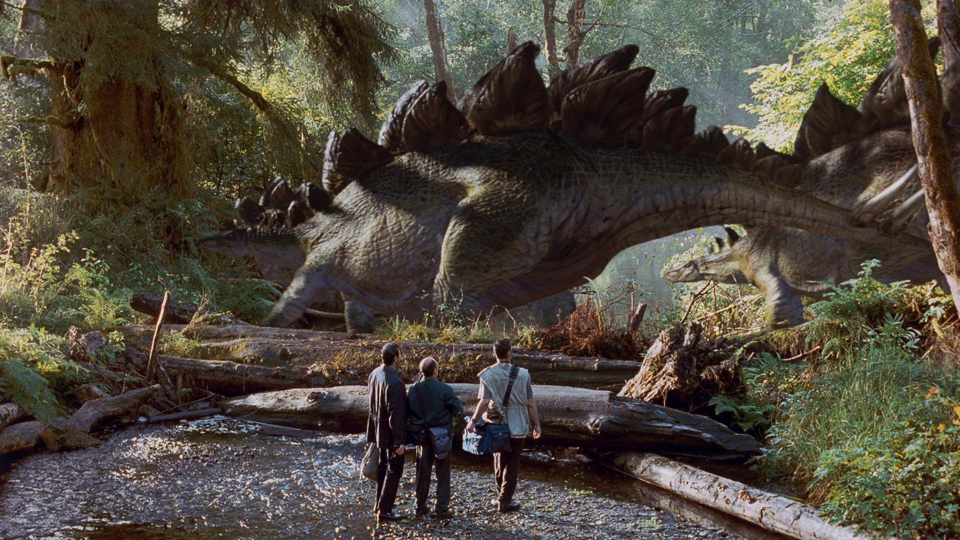 The party encounter a stegosaurus in The Lost World: Jurassic Park (1997)
