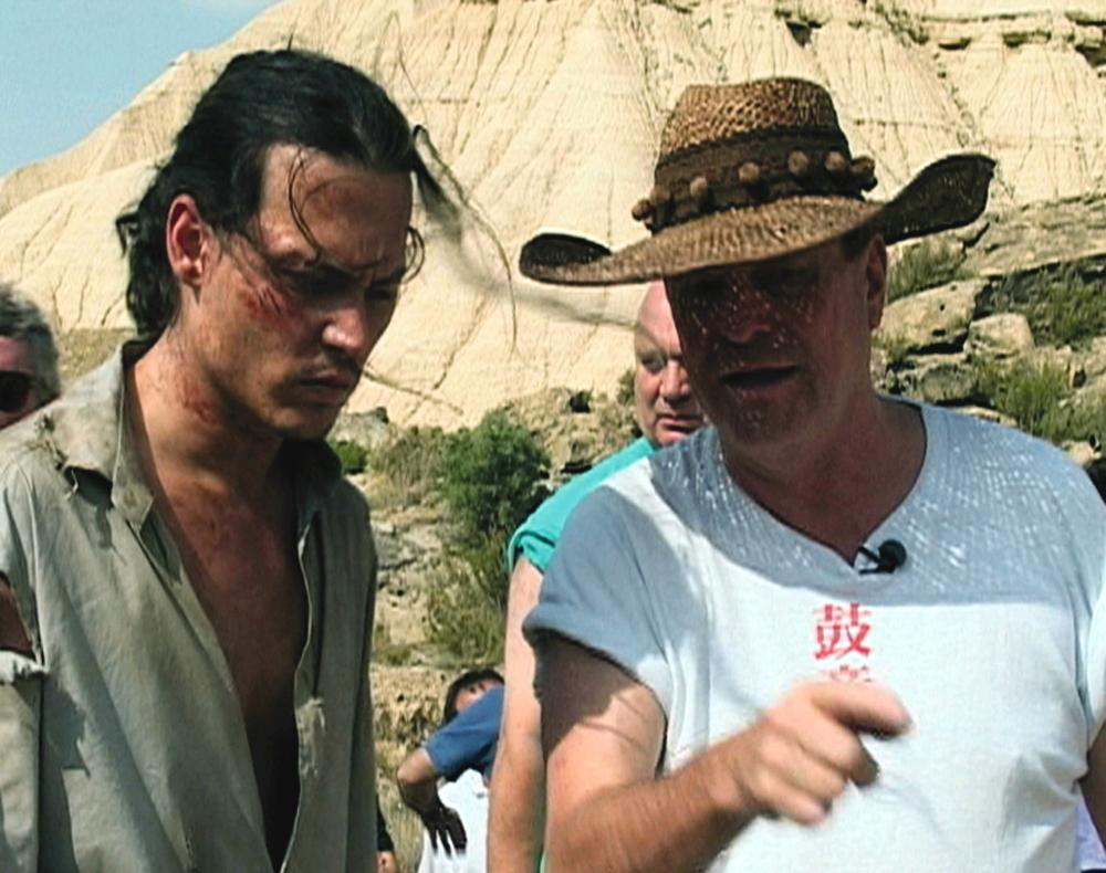 (l to r) Johnny Depp and director Terry Gilliam in Lost in La Mancha (2002)