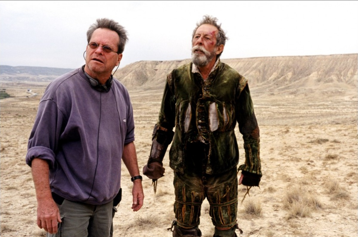 (l to r) director Terry Gilliam and his lead actor Jean Rochefort in Lost in La Mancha (2002)