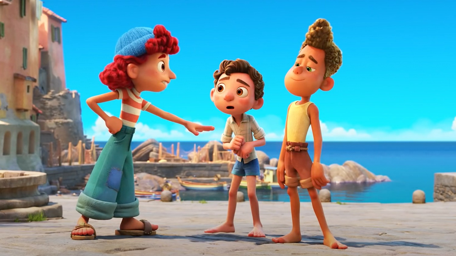 Giulia (voiced by Emma Berman with Luca (voiced by Jacob Tremblay) and Alberto (voiced by Jack Dylan Grazer) in Luca (2021)