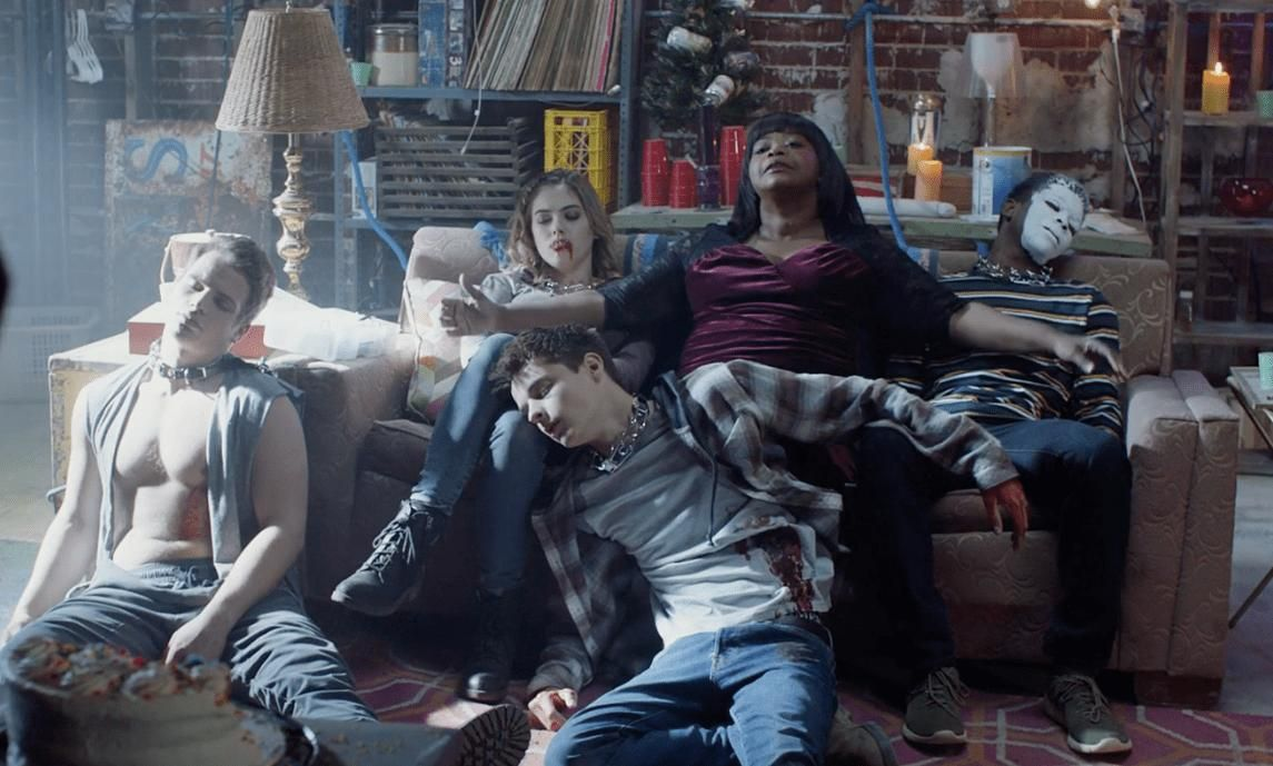 Octavia Spencer poses with tortured teens - (clockwise from left) Gianni Paolo, McKaley Miller, Octavia, Dante Brown and Corey Fogelmanis in Ma (2019)