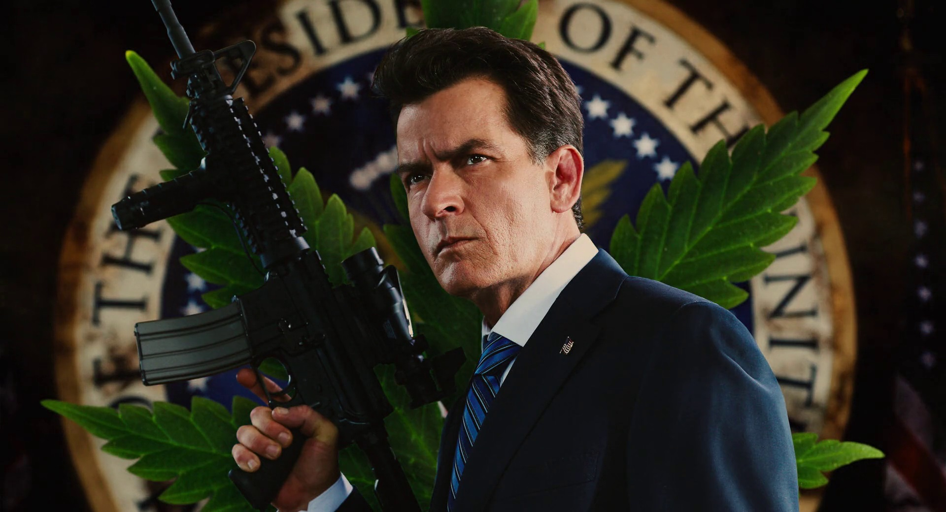Charlie Sheen (or Carlos Estevez) as the US President in Machete Kills (2013)