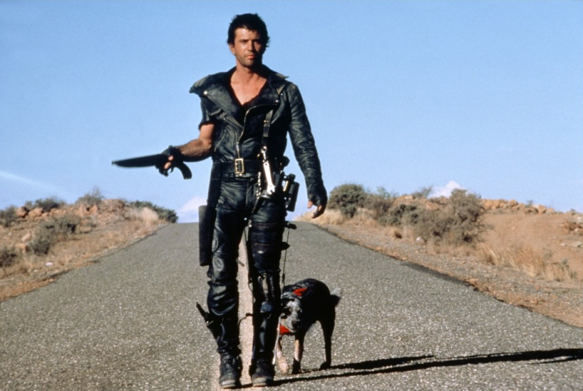 Max (Mel Gibson) and his dog roam the post-holocaust wastelands in Mad Max 2 (1981)