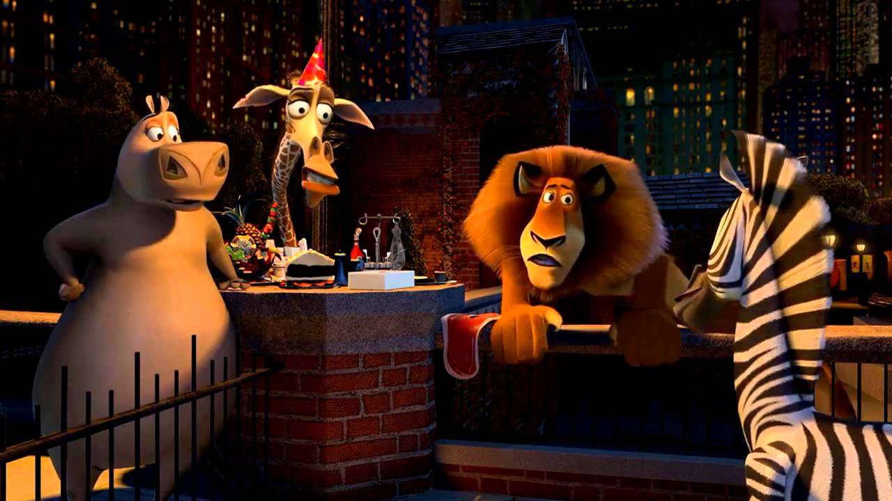 (l to r) Gloria the Hippo (voice by Jada Pinkett Smith), Melman the giraffe (voiced by David Schwimmer), Alex the lion (voiced by Ben Stiller) and Marty the zebra (voiced by Chris Rock) contemplate escape from th New York City zoo in Madagascar (2005)
