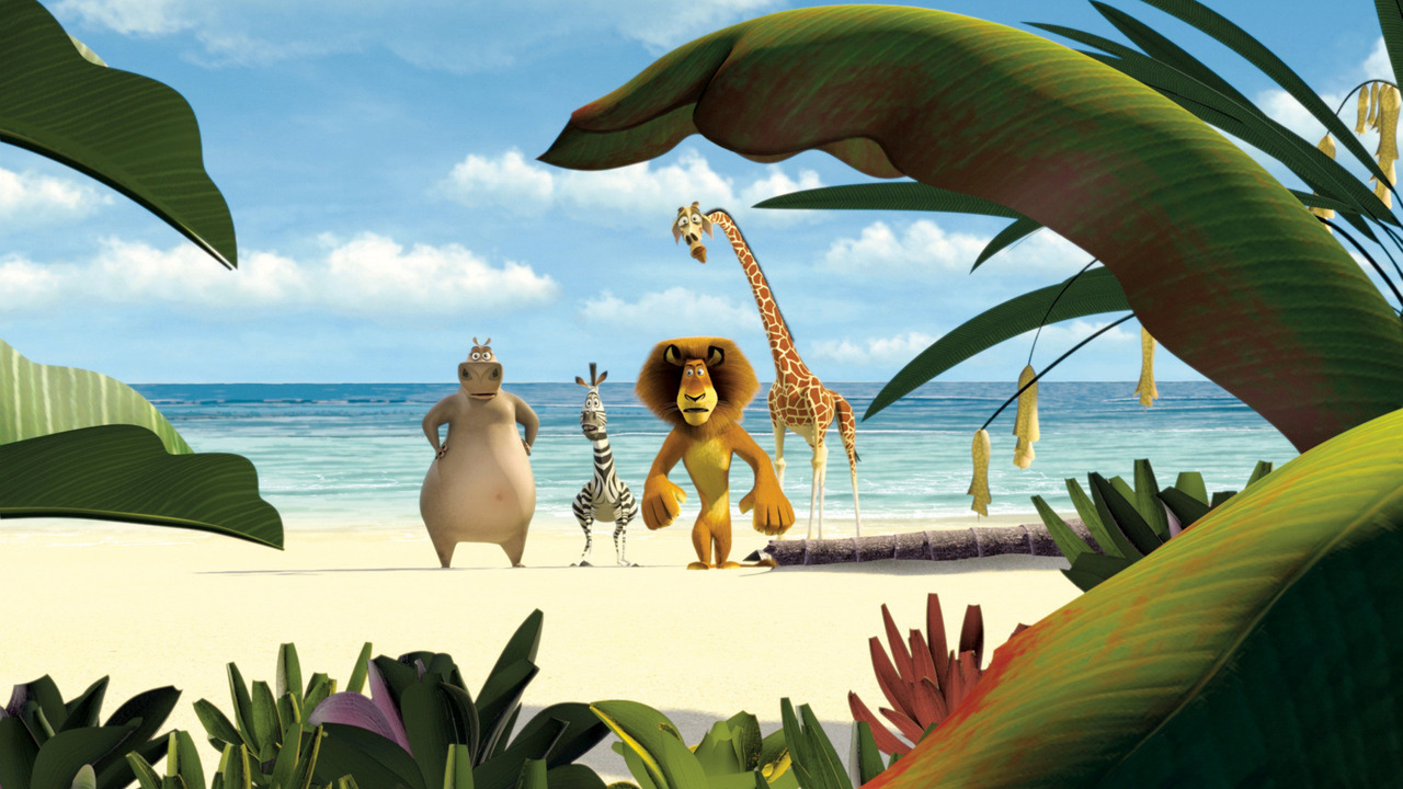The animals arrive on the shores of Madagascar - (l to r) Gloria the Hippo (voice by Jada Pinkett Smith), Marty the zebra (voiced by Chris Rock), Alex the lion (voiced by Ben Stiller) and Melman the giraffe (voiced by David Schwimmer) in Madagascar (2005)