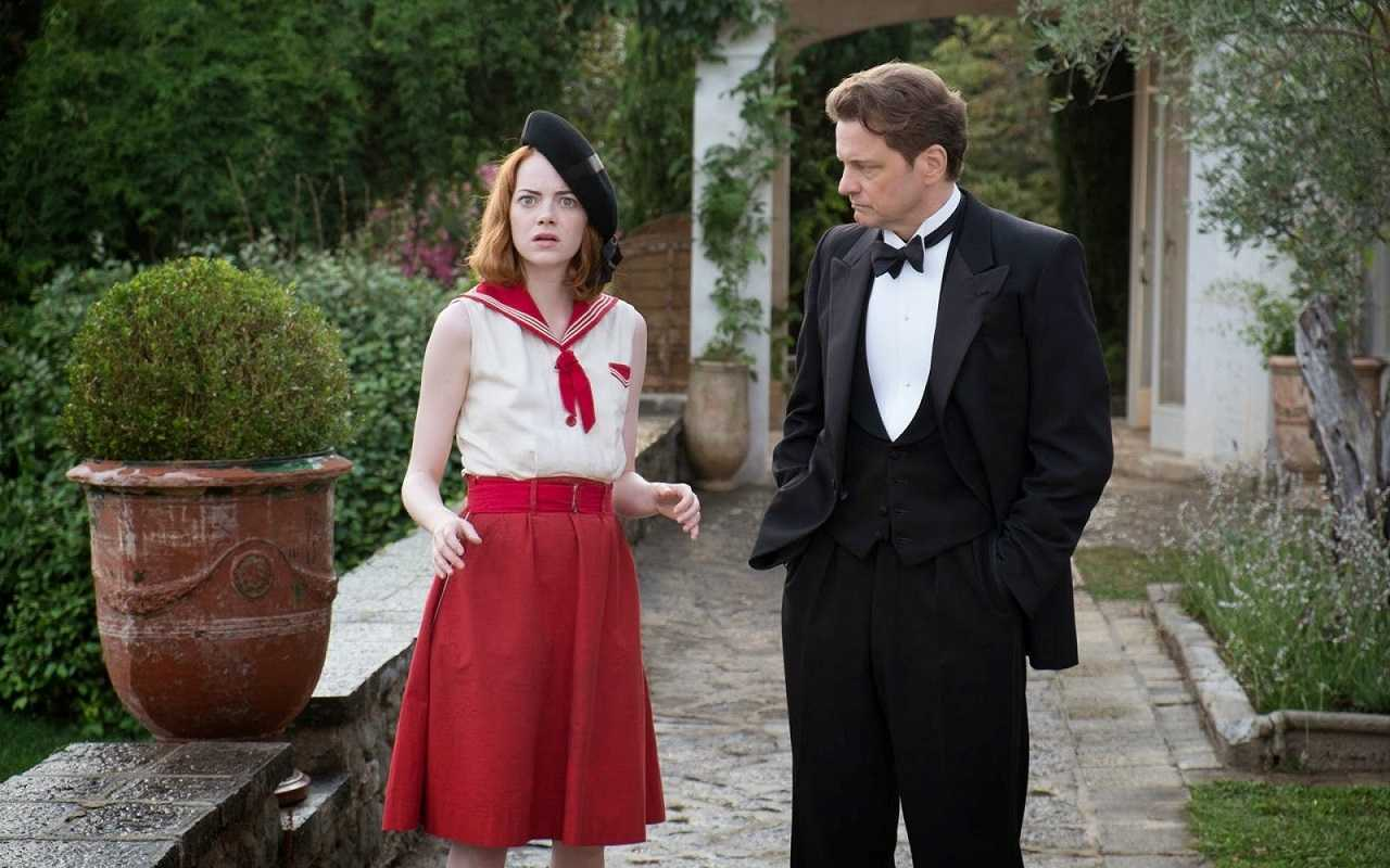 Romance between Emma Stone and Colin Firth in Magic in the Moonlight (2014)