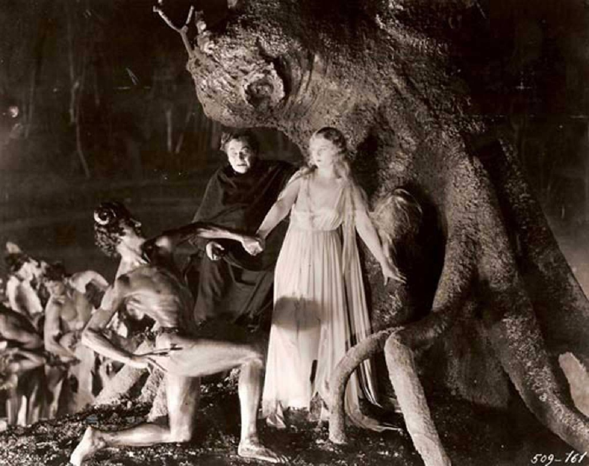 Oliver Haddo (Paul Wegener) introduces Alice Terry to Pan during a drug hallucination in The Magician (1926)