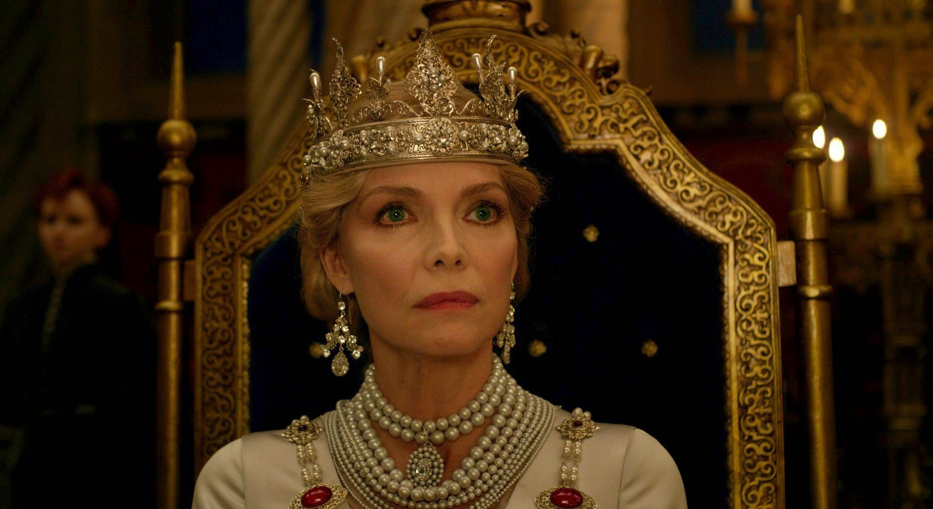 Maleficent gets a worthy nemesis in Queen Ingrith (a wonderfully ice cold Michelle Pfeiffer) in Maleficent, Mistress of Evil (2019)
