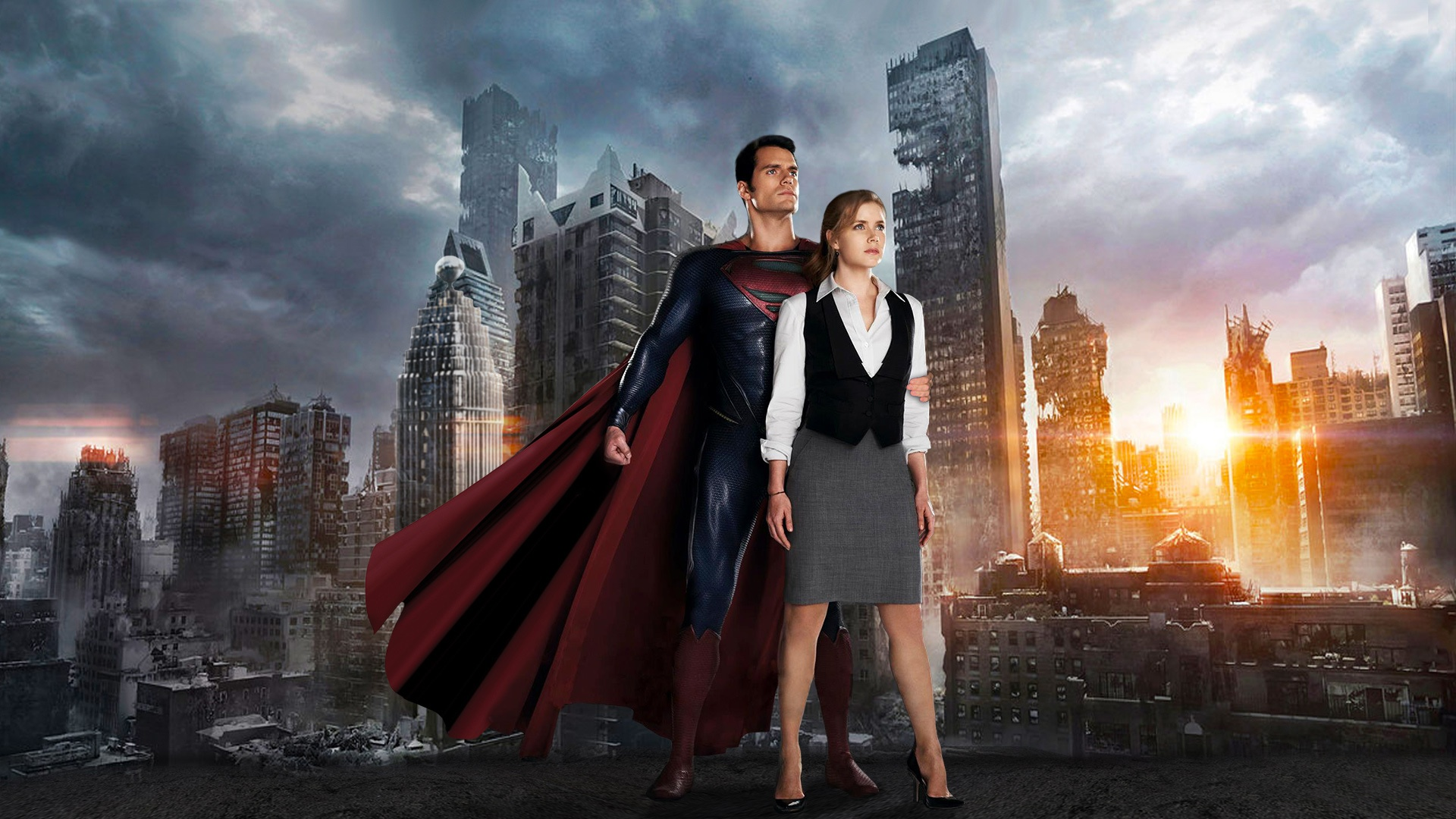 Superman (Henry Cavill) and Lois Lane (Amy Adams) in Man of Steel (2013)
