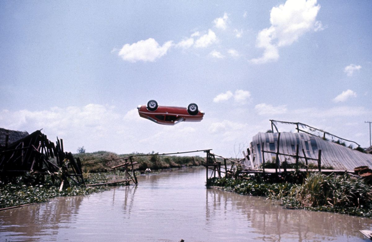 Bond flips an AMC Hornet in a 360 degree spin between two bridges in The Man with the Golden Gun (1974)