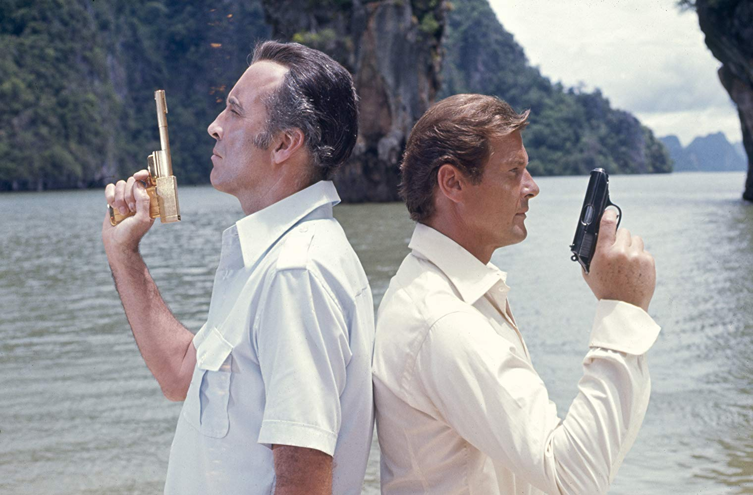 Roger Moore in his second outing as James Bond and with Christopher Lee as the assassin Scaramanga in The Man with the Golden Gun (1974)