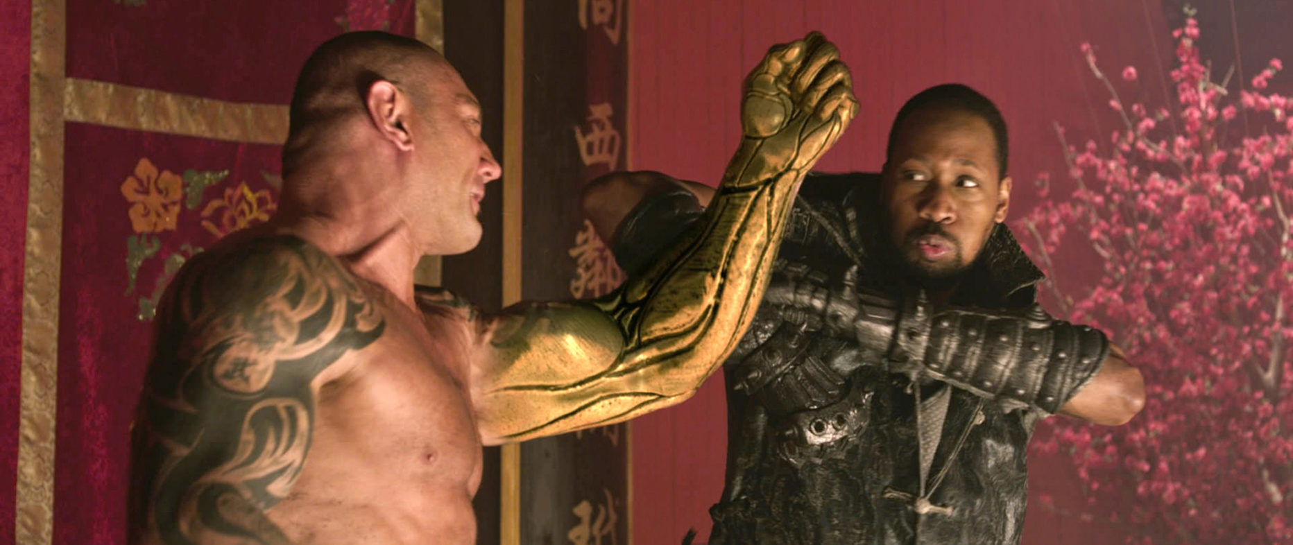 The RZA takes on Dave Bautista in The Man with the Iron Fists (2012)