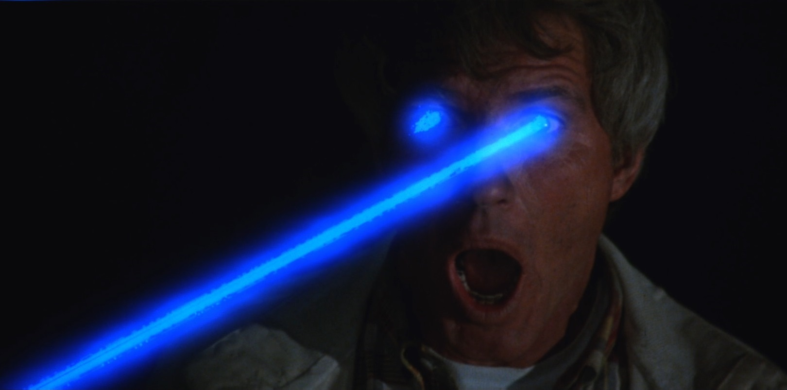 Christopher Connelly blinded by laser beams in Manhattan Baby (1982)