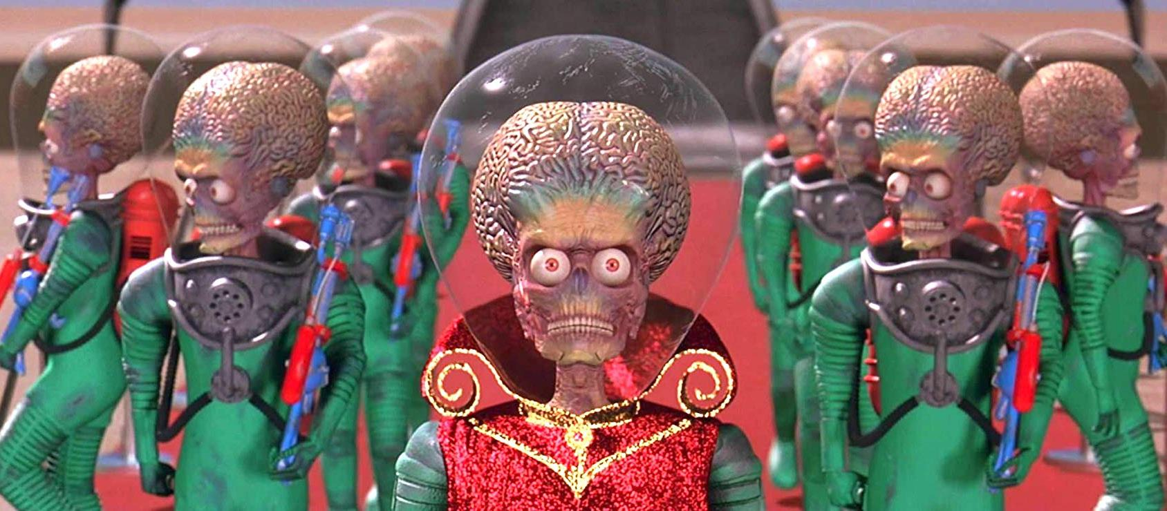 The Martians arrives on Earth in Mars Attacks! (1996)