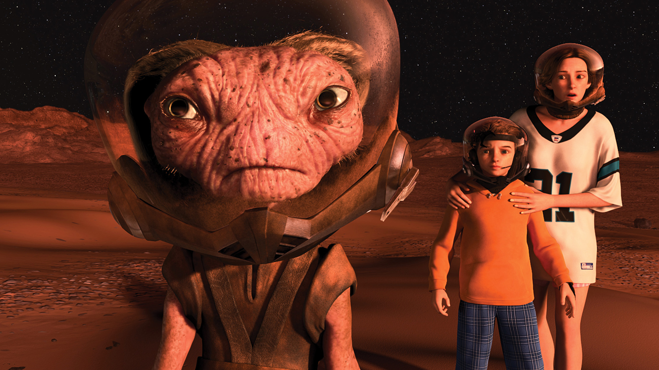The Supervisor, Milo and Milo's Mom on the Martian surface in Mars Needs Moms (2011)