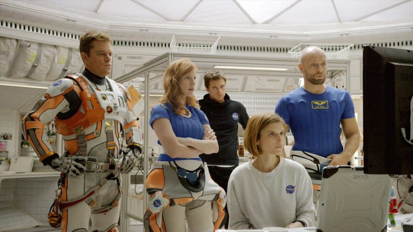 The crew of the Ares III expedition - (l to r) Matt Damon, Jessica Chastain, Sebastian Stan, Rooney Mara, Aksel Hennie in The Martian (2015)